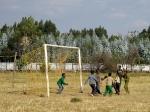 Kids play ball at halftime